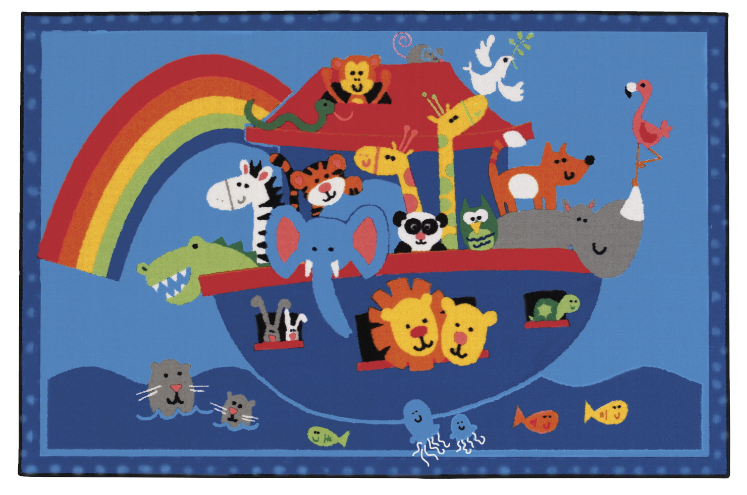 Carpets For Kids Kids Value Noah's Animals Rug, 3 Feet x 4 Feet 6 Inches, Rectangle