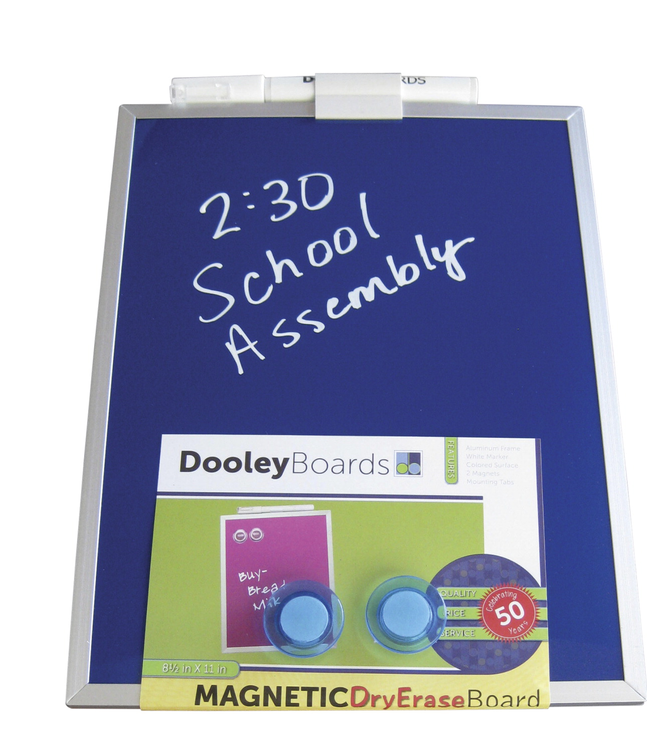 Dooley Colored Surface Dry Erase Board, 8-1/2 W x 11 H in, Blue