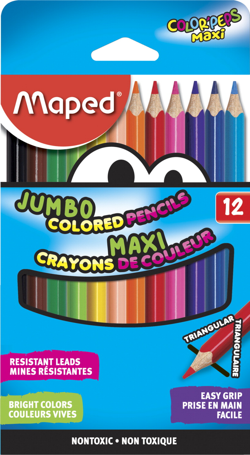 Study Time Jumbo Triangular Pencils - 12 Easy Grip Assorted pack Of 12