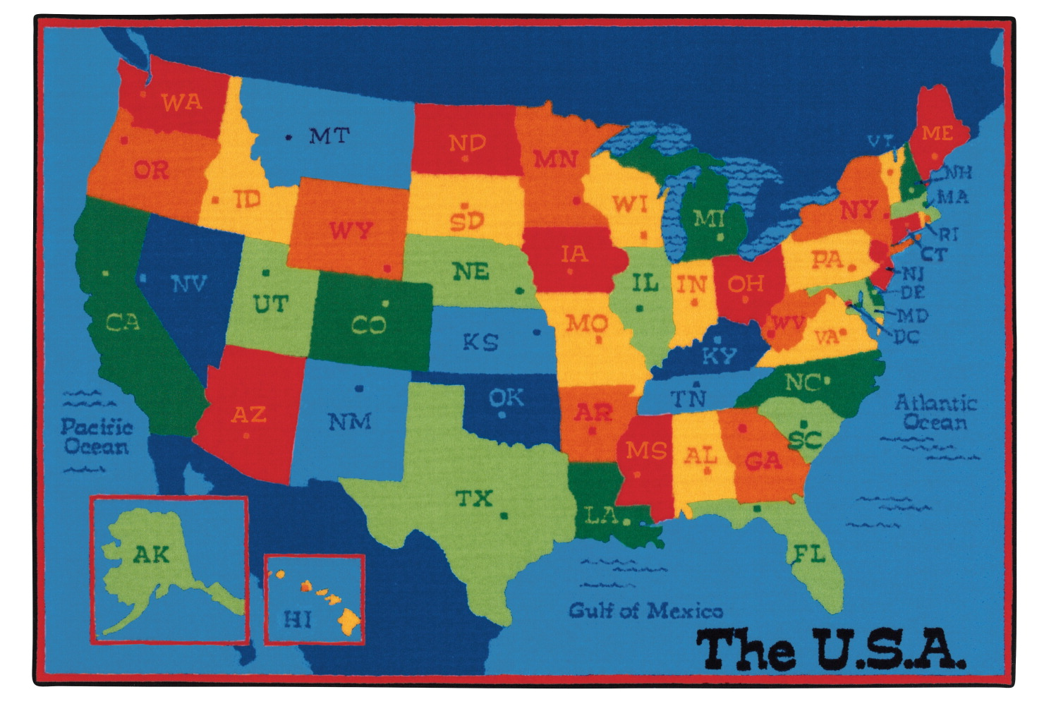 Carpets for Kids Value PLUS, USA Map Carpet, 6 x 9 Feet, Rectangle