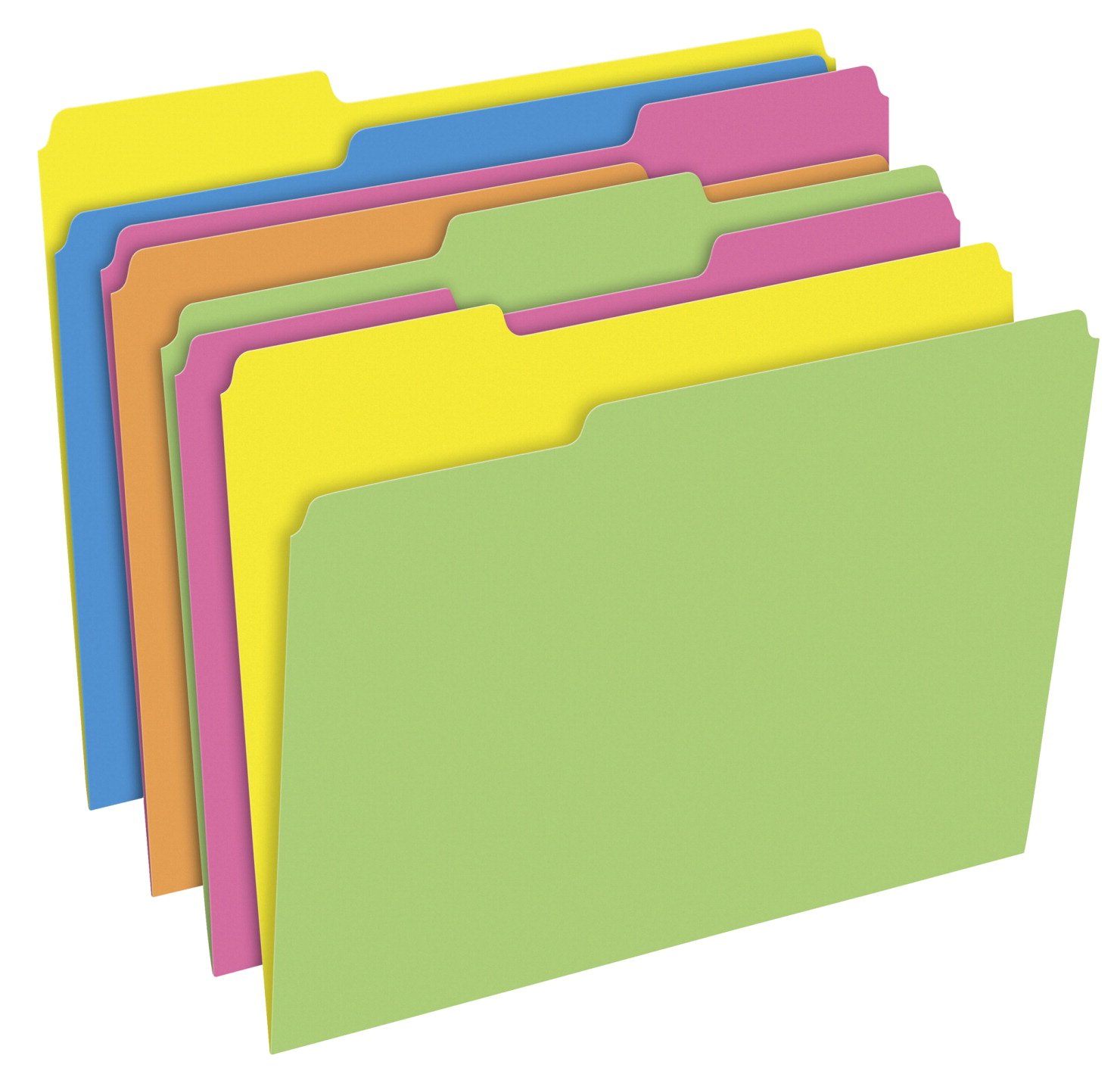 Pendaflex Glow Twisted File Folders, 3 Tab, Assorted Colors, Pack of 24