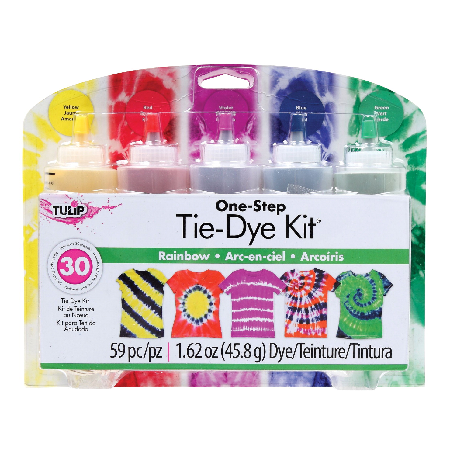 Tulip One-Step Tie-Dye Kit, 4 Ounce Bottles, Rainbow Colors, Set of 5