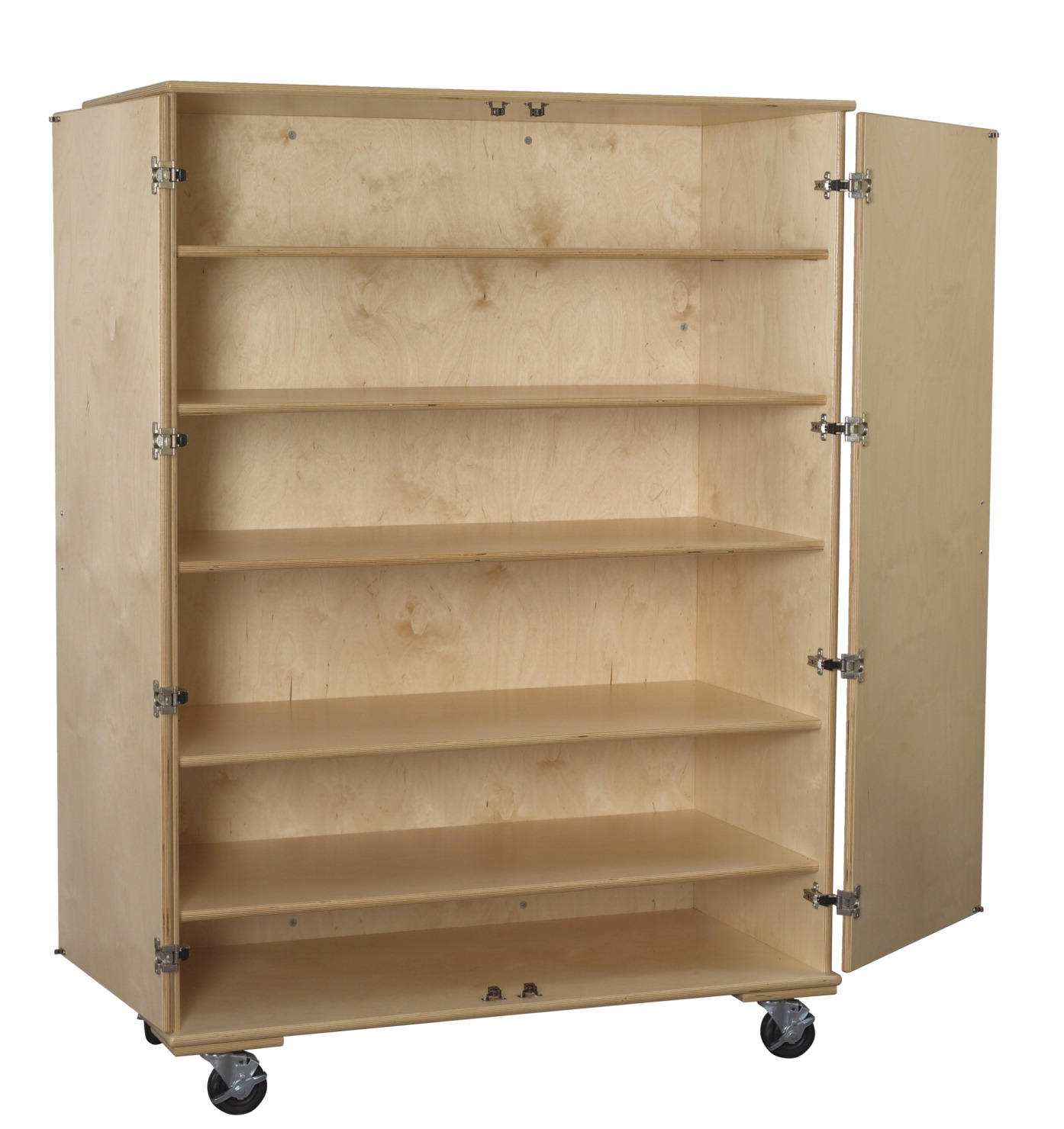 Classroom Select Large Mobile Storage Cabinet, 5 Adjustable Shelves, 48 W x 24 D x 67 H in, Birch