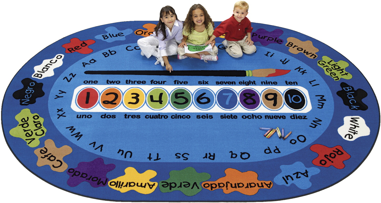 Carpets for Kids Bilingual Paint by Numero Carpet, 8 Feet 3 Inches x 11 Feet 8 Inches, Oval