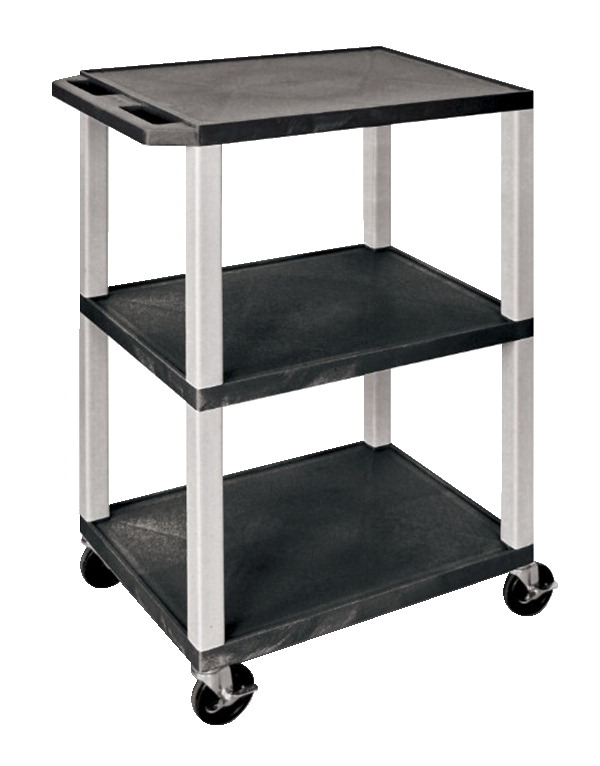 Luxor Tuffy AV Cart with 3 Shelves, 24 x 18 x 42 Inches, Various Options