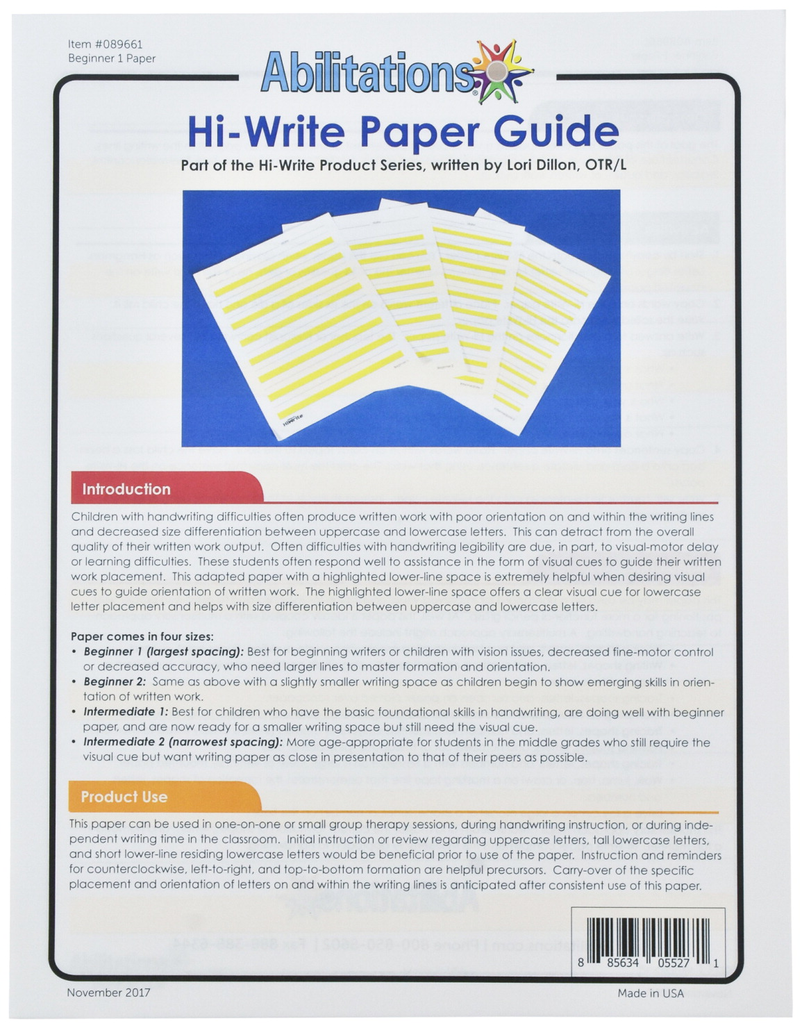 Abilitations Hi-Write Beginner Paper, Level 1, Pack of 100