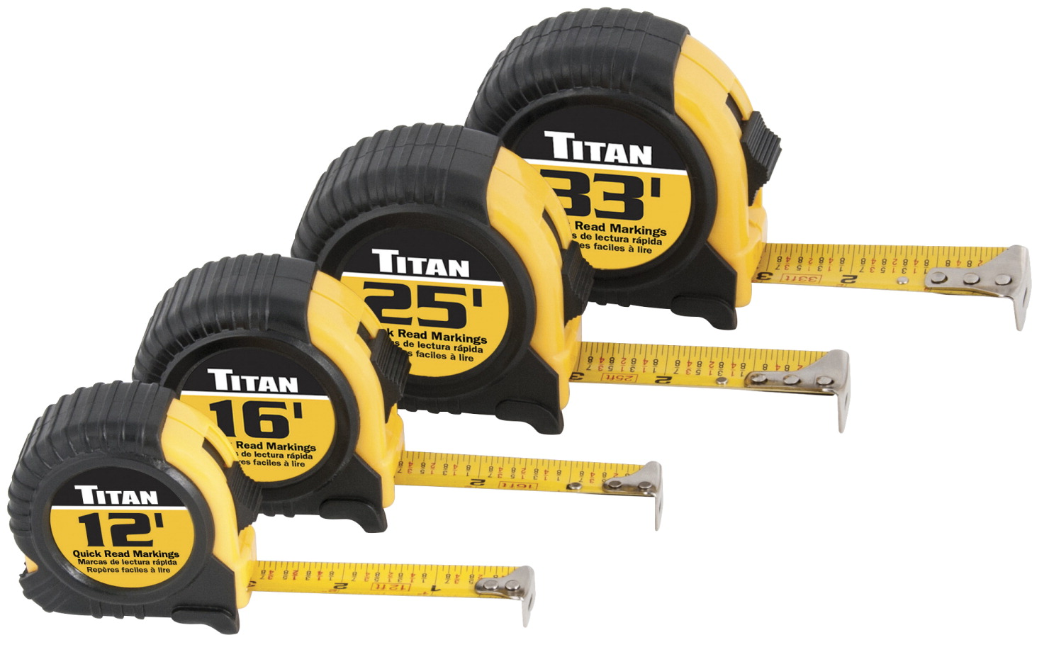 Titan Tape Rules, 4 Pack - 12 ft, 16 ft, 25 ft, and 33 ft