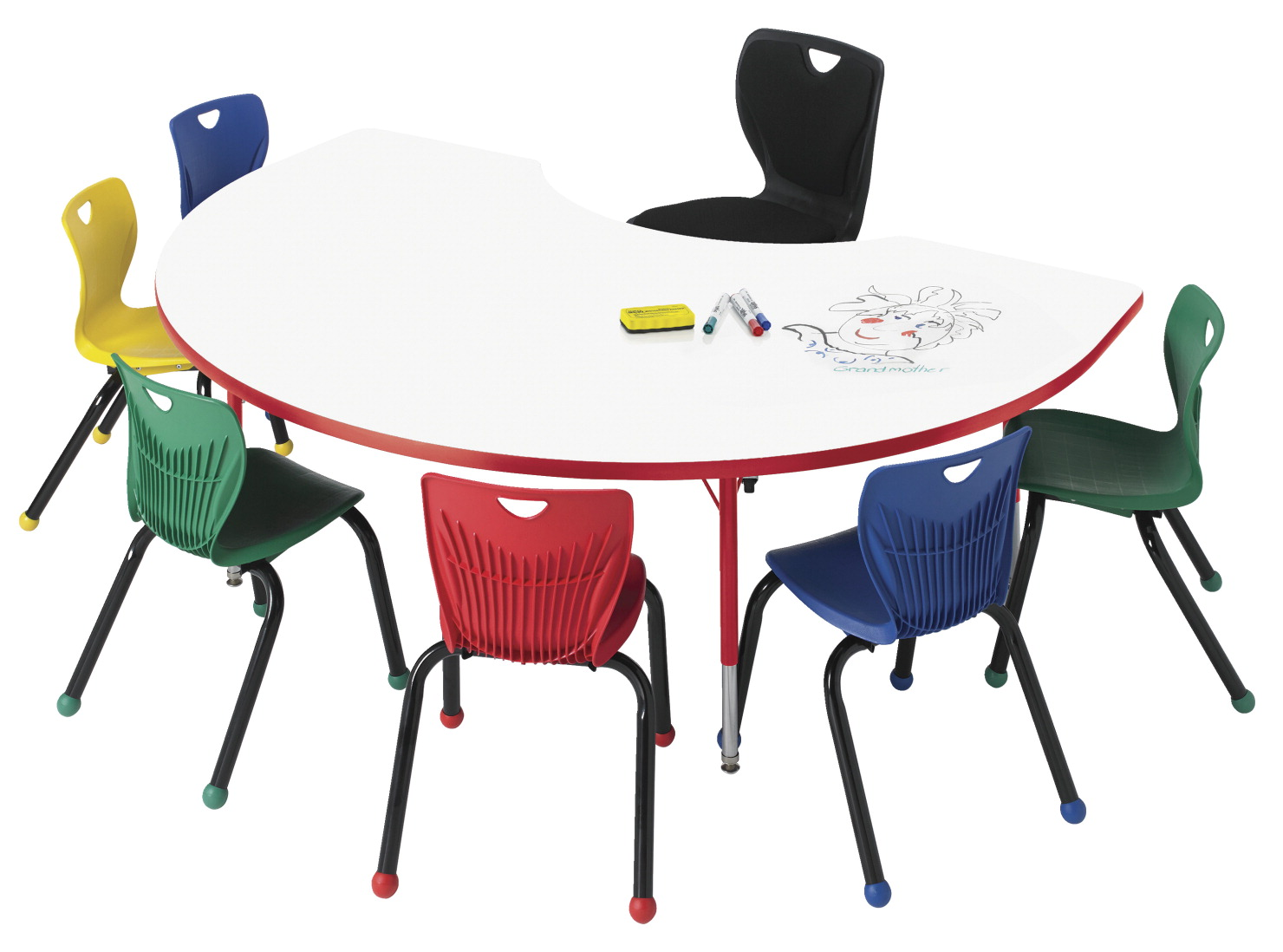 Classroom Select Markerboard Activity Table, Kidney, 72 x 48 Inches, Various Options