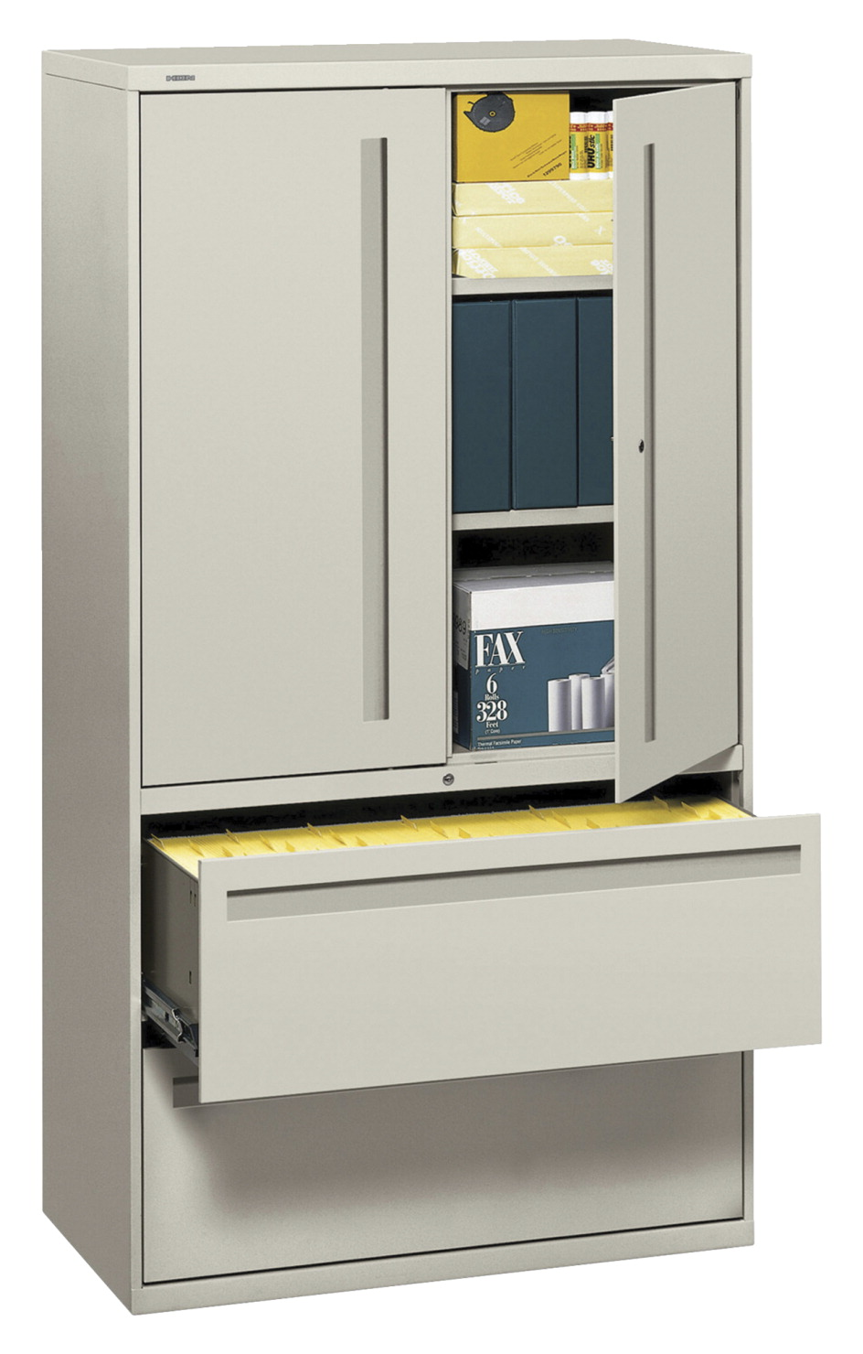 HON 455 Lateral File Cabinet, Gray, 455 W x 455-455/45 D x 45 H in