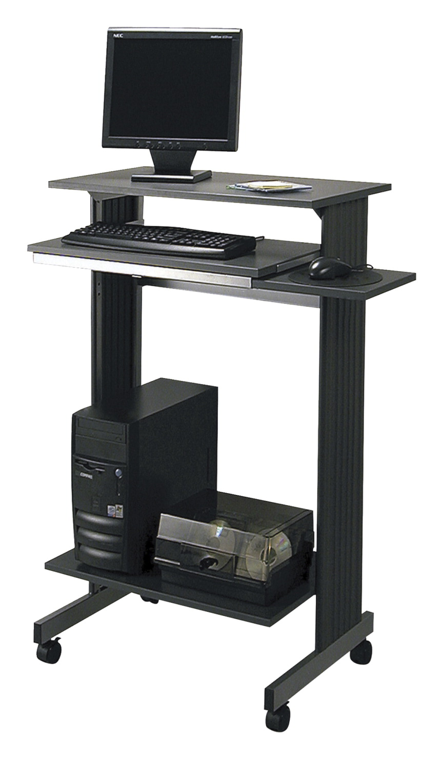 Buddy Euroflex Stand-Up Workstation, Charcoal and Silver 29-1/2 W x 19-5/8 D x 44-1/4 H Inches
