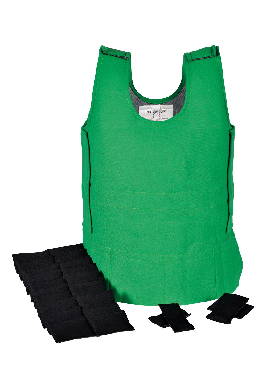 Abilitations Weighted 4 Pound Vest, 17 to 22 Inches x 34 Inches, Green, Medium