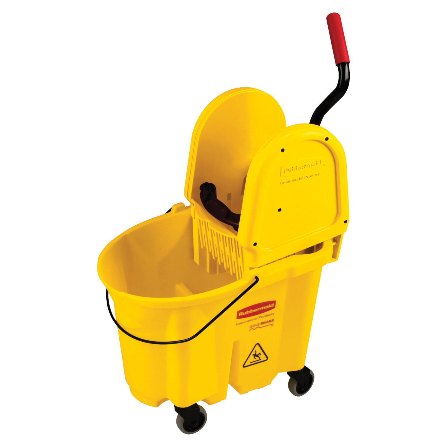 Rubbermaid WaveBrake Mop Bucket Wringer, 20.5 x 16.6 x 25.5 in, Yellow