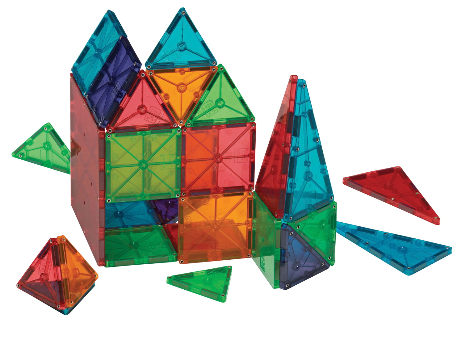 Magna-Tiles 3-D Magnetic Building Tiles, Translucent Colors, Set of 100