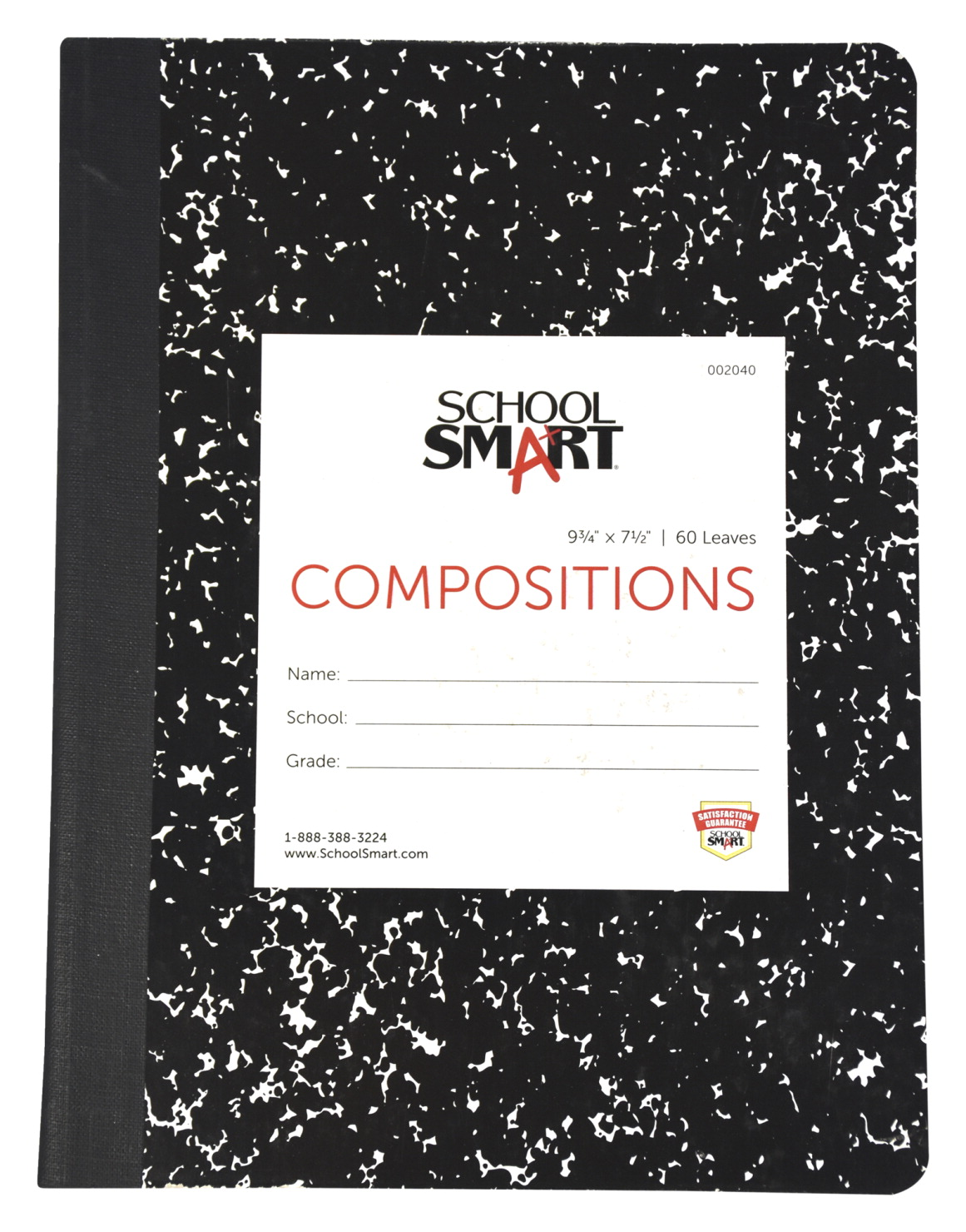 School Smart Hard Cover Ruled Composition Book, 60 Sheets, 9-3/4 x 7-1/2 Inches