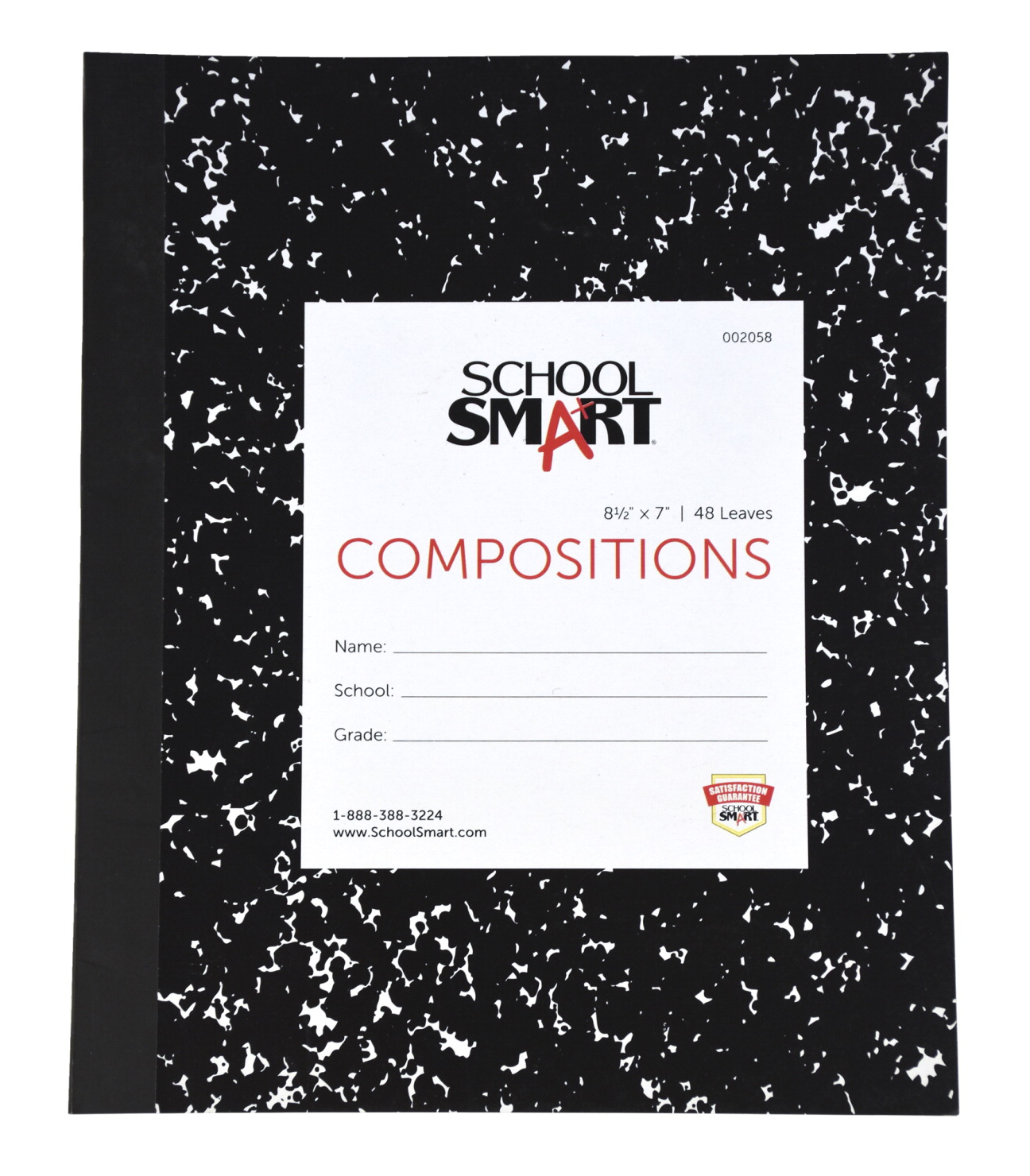 School Smart Flexible Cover Ruled Composition Book, 8-1/2 x 7 Inches, 48 Sheets