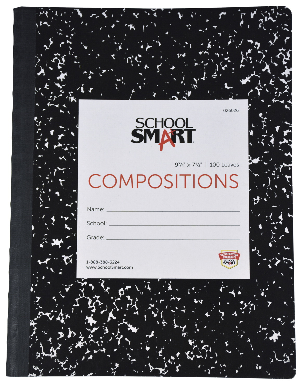 School Smart Semi-Stiff Ruled Composition Book, 9-3/4 x 7-1/2 Inches, 100 Sheets