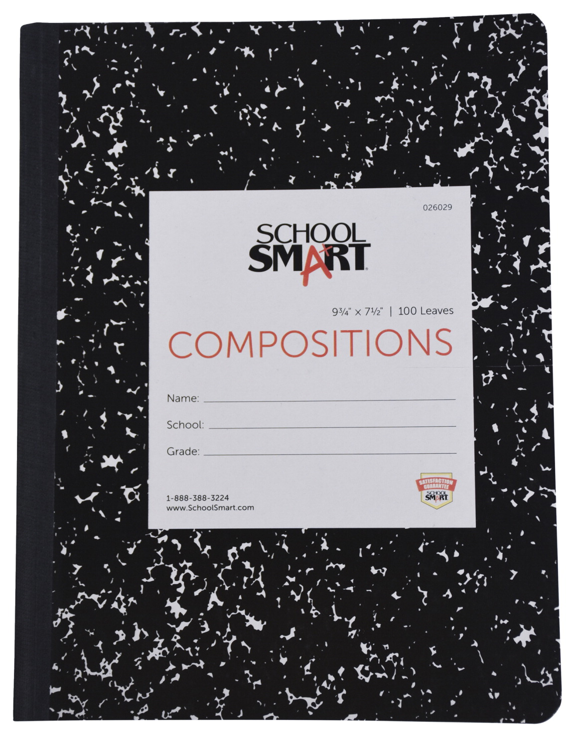 School Smart Hard Cover Ruled Composition Book, 9-3/4 x 7-1/2 Inches, 100 Sheets
