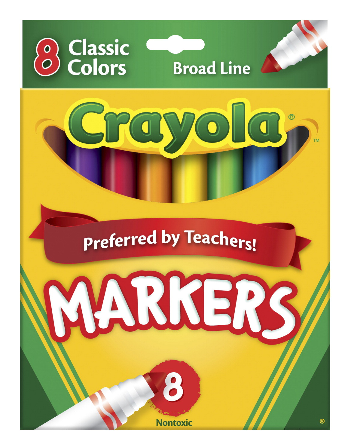 Crayola Original Broad Line Markers, Assorted Classic Colors, Set of 8