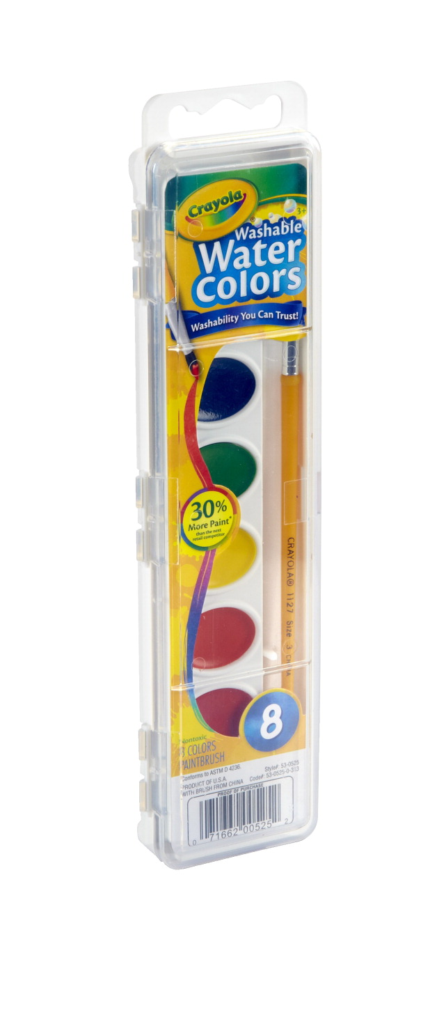 Crayola Non-Toxic Washable Semi-Moist Watercolor Paint Set, Plastic Oval Pan, Assorted Color, Set of 8