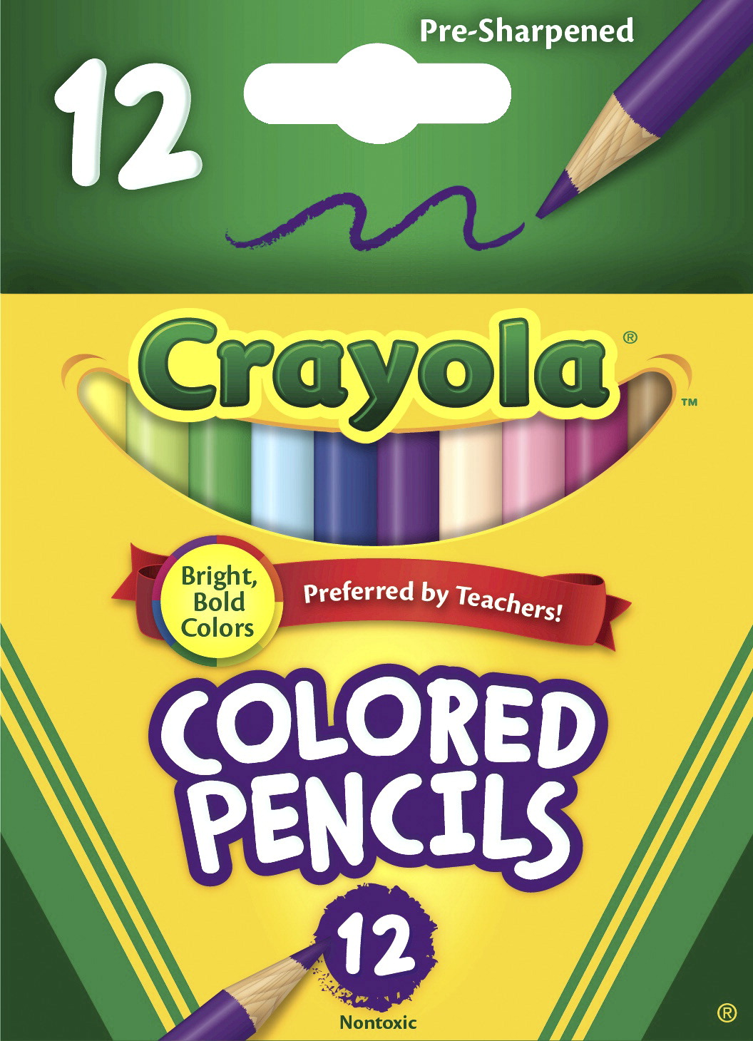 Crayola Half Size Colored Pencils, Assorted Colors, Set of 12