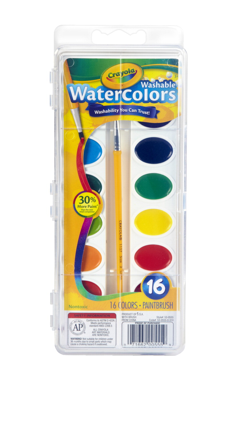 Crayola Non-Toxic Washable Semi-Moist Watercolor Paint Set, Plastic Oval Pan, Assorted Color, Set of 16
