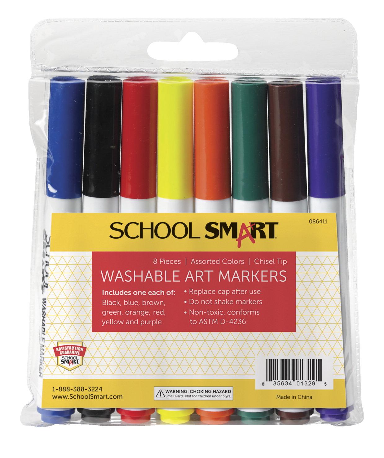 School Smart Washable Marker, Chisel Tip, Assorted Colors