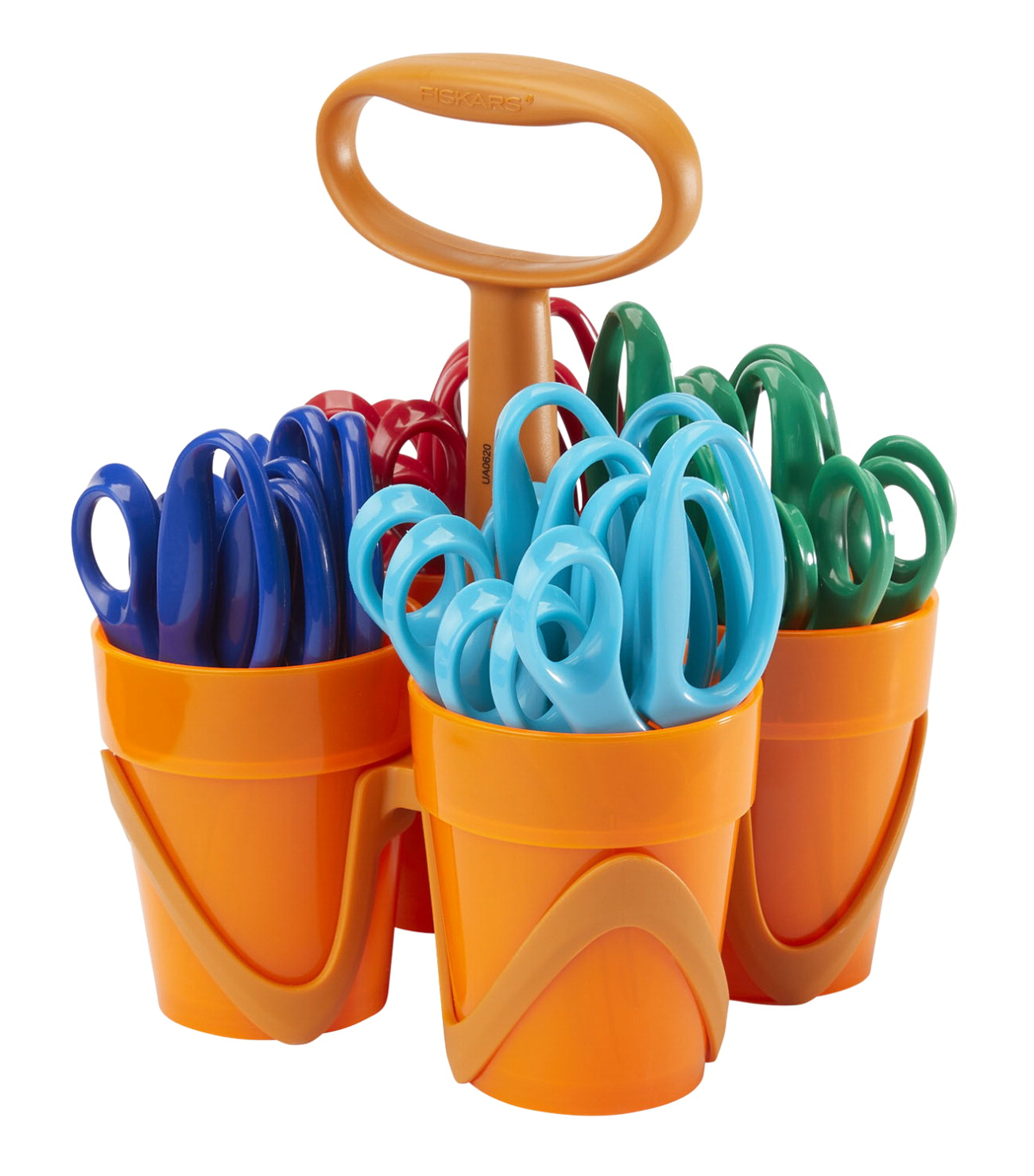 Fiskars 5 Inch Blunt Tip Kids Scissors Classroom Pack Caddy, Pack of 24