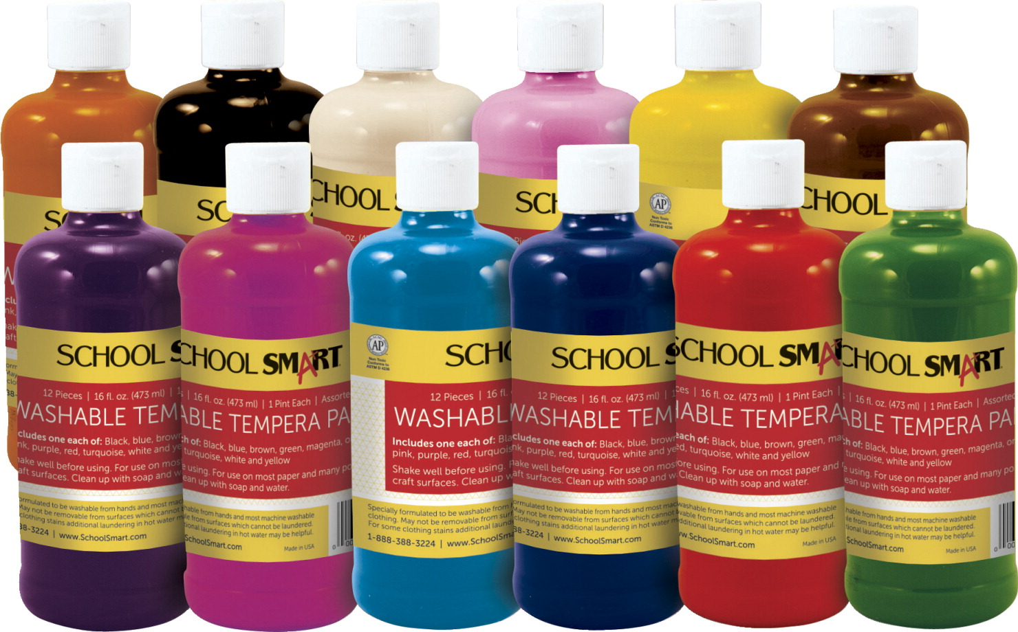 School Smart Washable Tempera Paint, 1 Pint, Assorted Colors, Set of 12