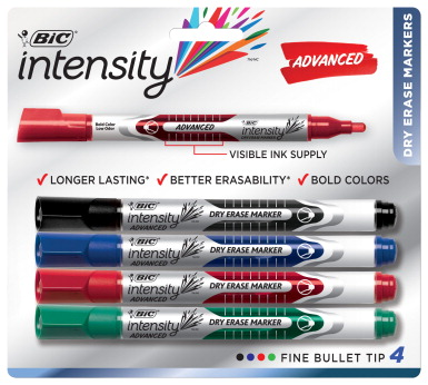 BIC Fine Tip Dry Erase Marker, Assorted Colors - SCHOOL