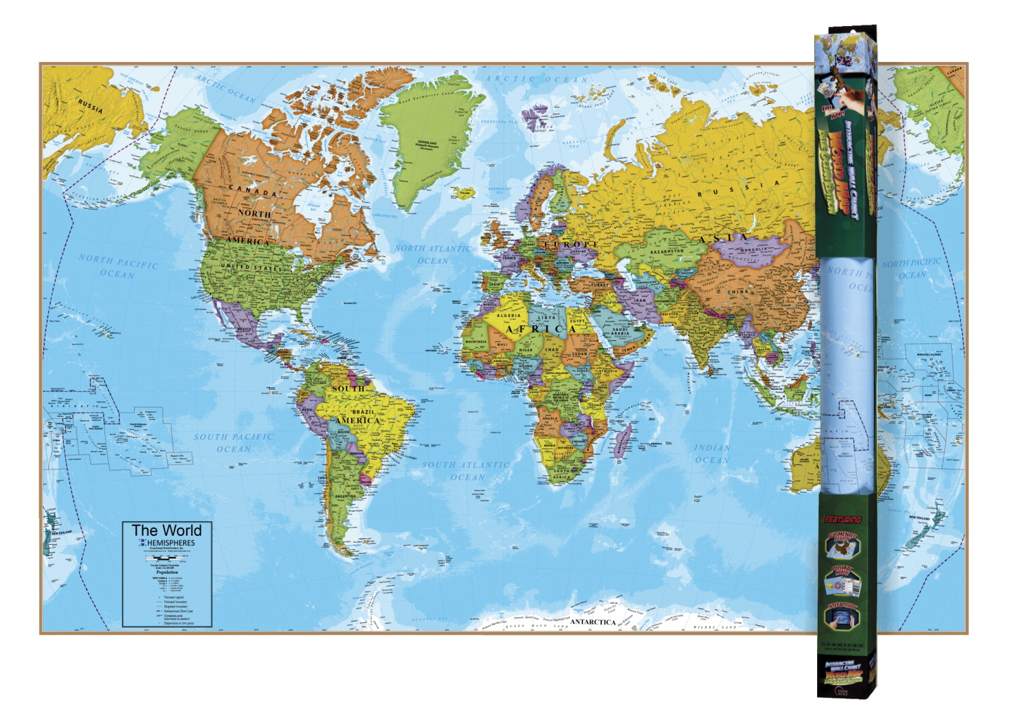 Round World Interactive World Map, 32 x 51-1/2 Inches - ... on
