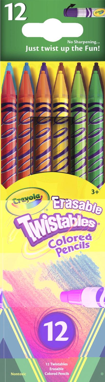 crayola twistables erasable non toxic colored pencil set assorted color set of 12 - Crayola Colored Pencils Twistables