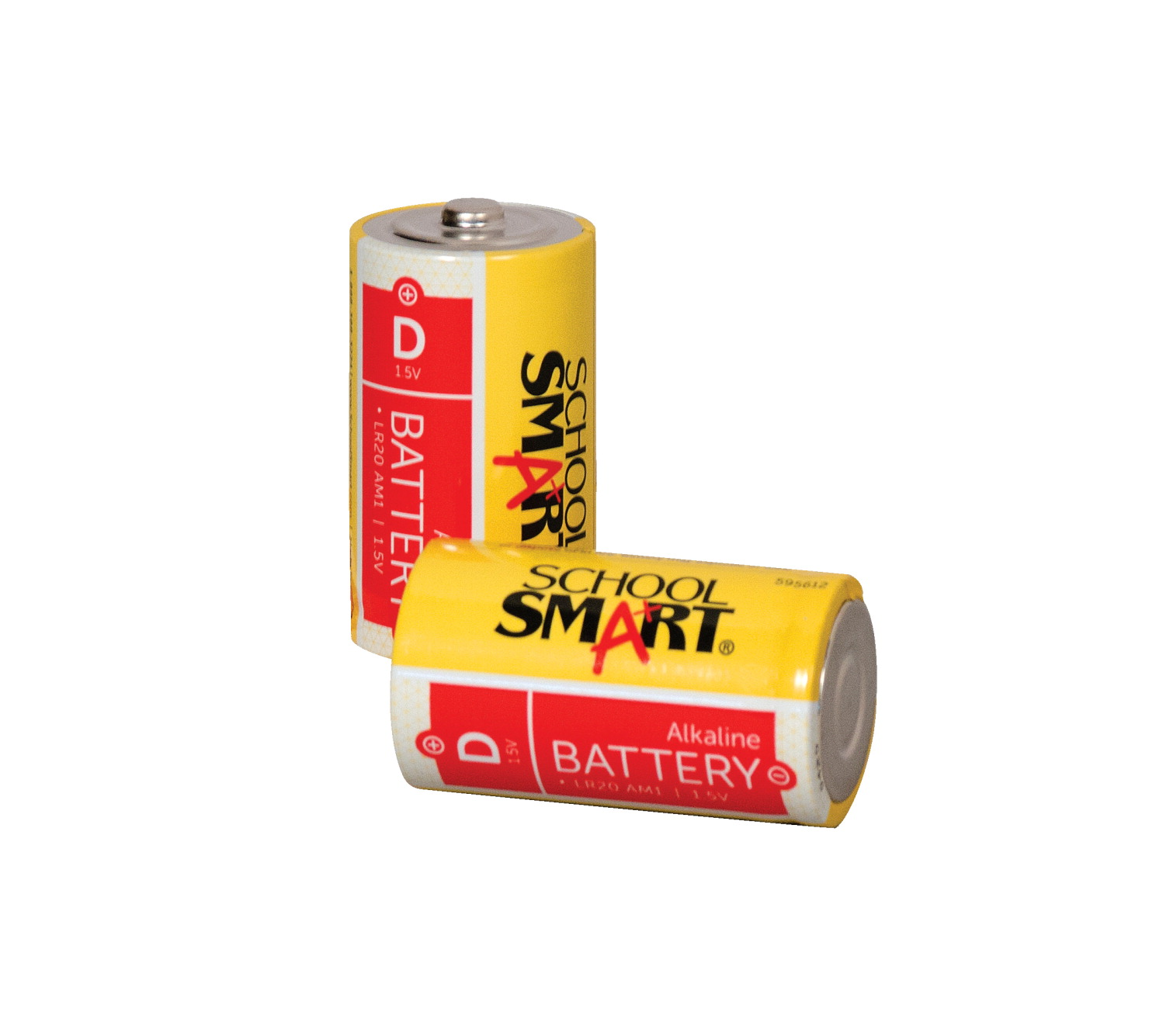 School Smart Alkaline D Batteries, 1.5 Volt, Pack of 2