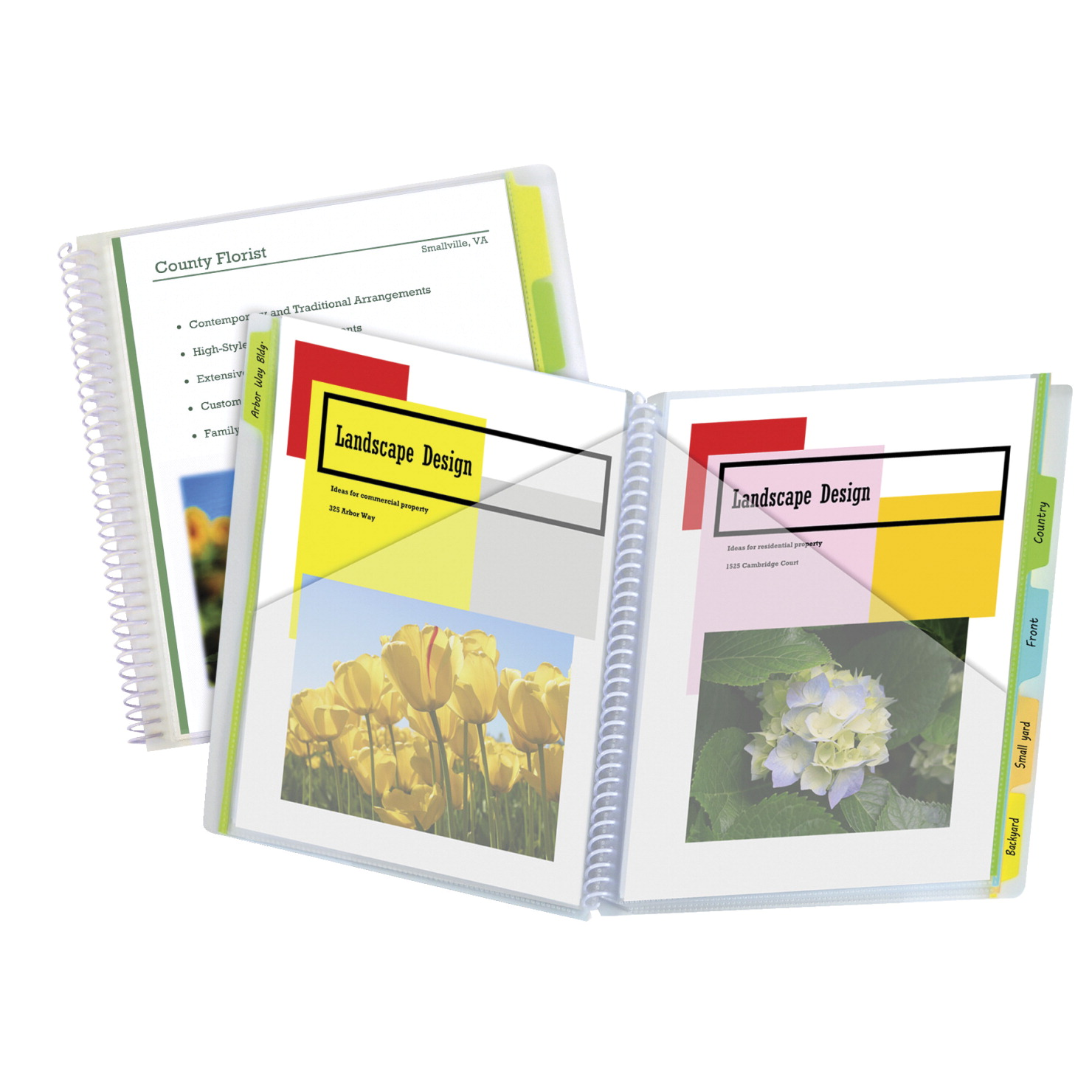 C-Line Poly Portfolio Folder, Spiral Bound, Write-On Tabs