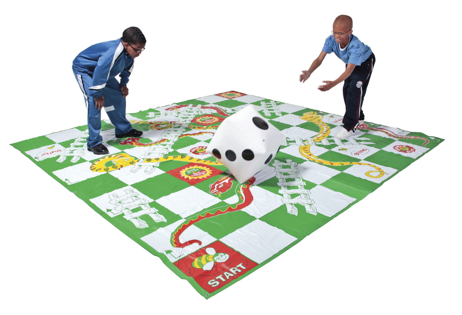 DOM Giant Snakes & Ladders Game, Set Includes 1 Giant Mat, 8 Stakes and 1 Giant Inflatable Die
