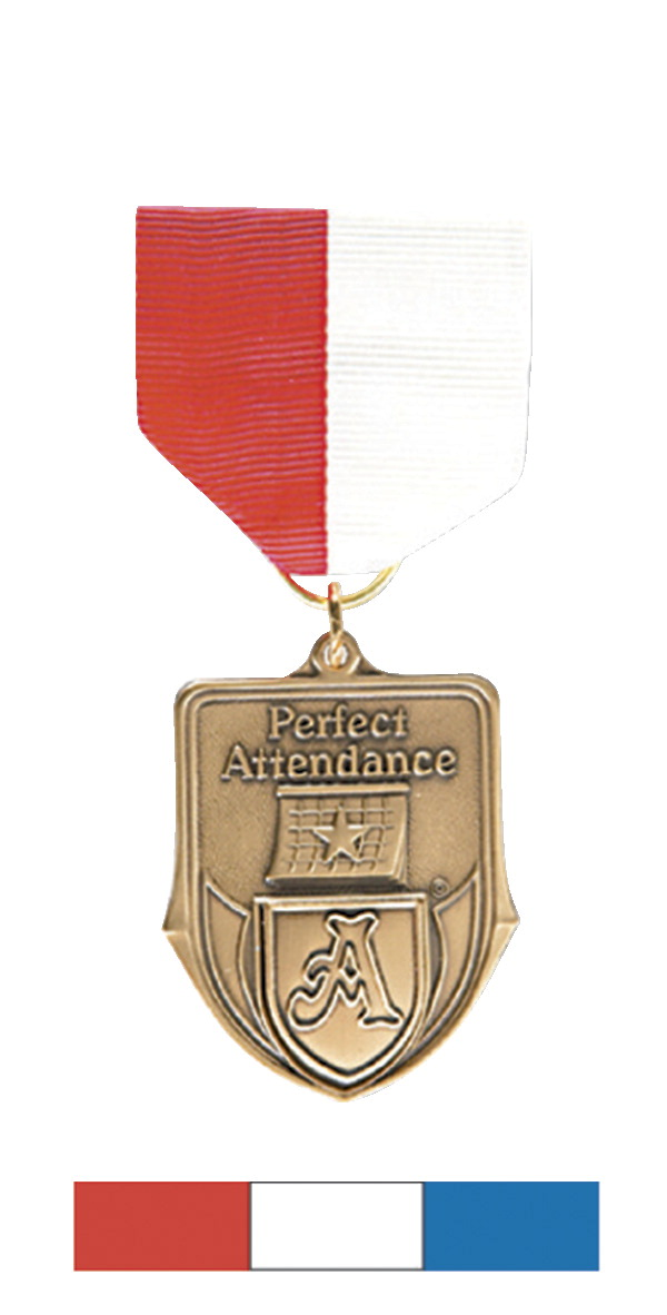 Hammond & Stephens Recognition Medal with Pin Drape Ribbon, 1-1/2 x 1-3/8  Inches, Red/White/Blue