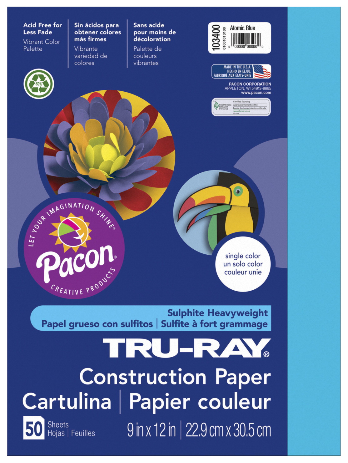Tru-Ray Sulphite Construction Paper, 9 x 12 Inches, Atomic Blue, 50 Sheets