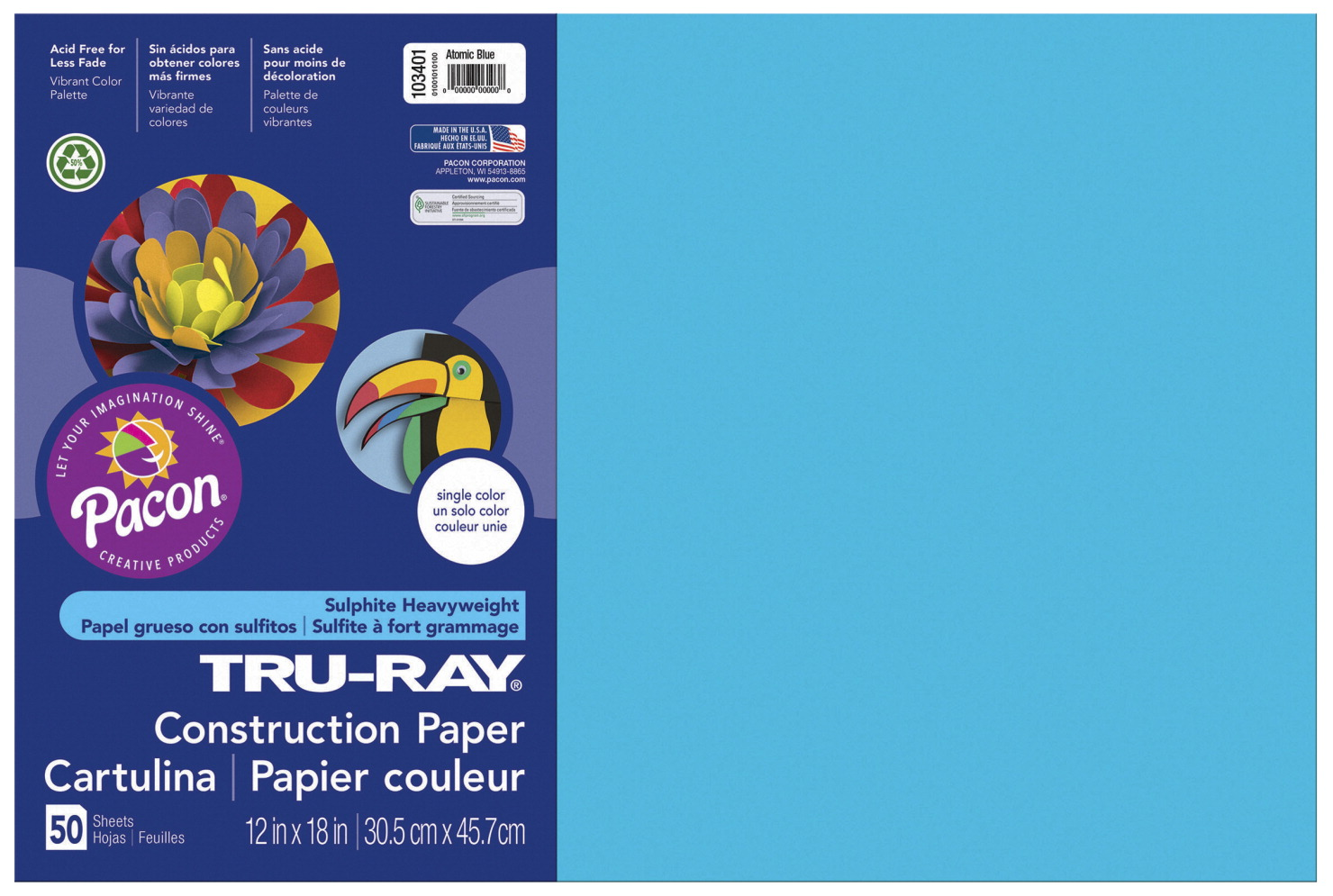 Tru-Ray Sulphite Construction Paper, 12 x 18 Inches, Atomic Blue, 50 Sheets