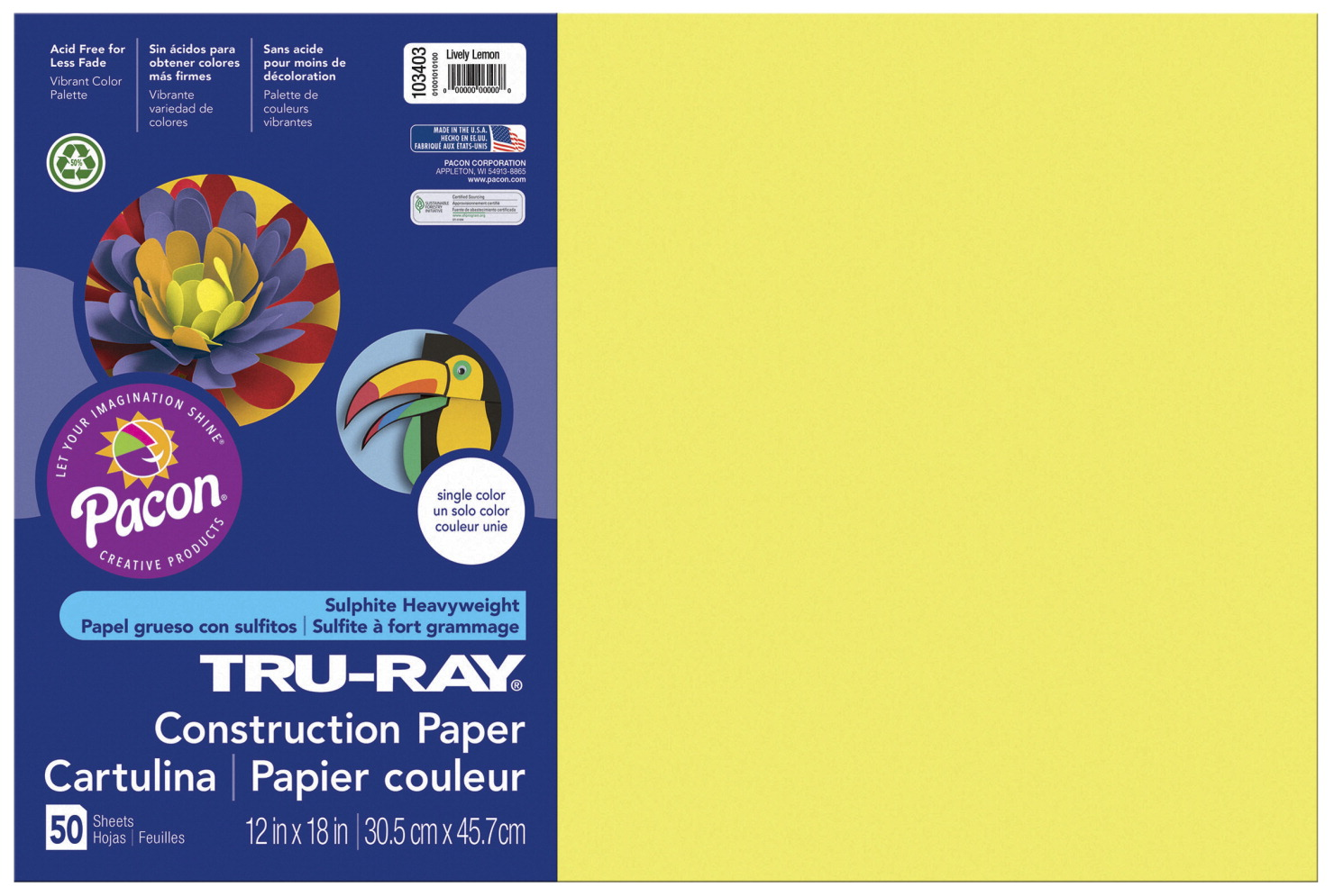 Tru-Ray Sulphite Construction Paper, 12 x 18 Inches, Lively Lemon, 50 Sheets