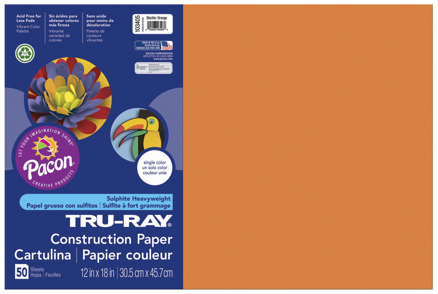 Tru-Ray Sulphite Construction Paper, 12 x 18 Inches, Electric Orange, 50 Sheets