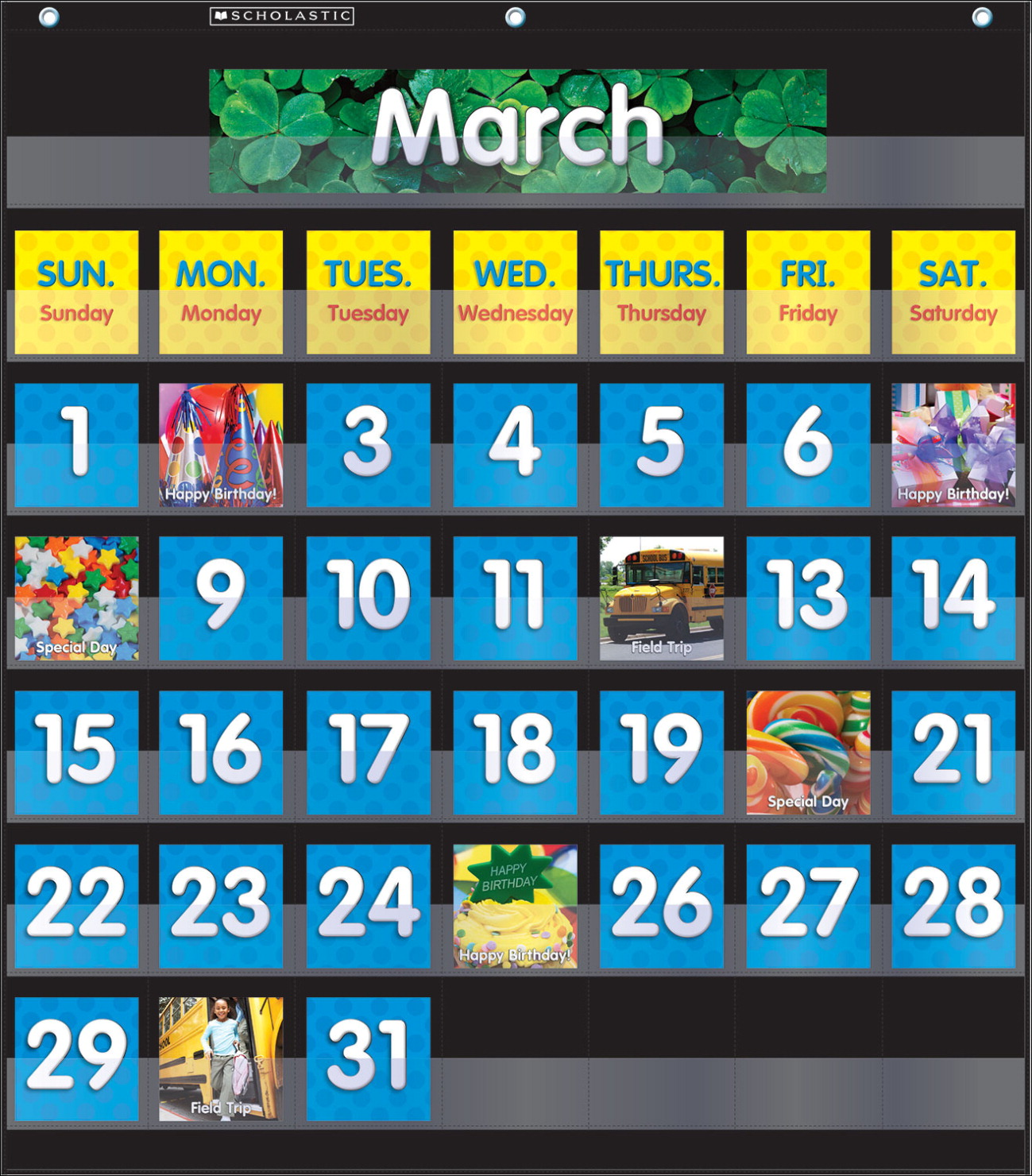 Scholastic monthly calendar pocket chart black school specialty