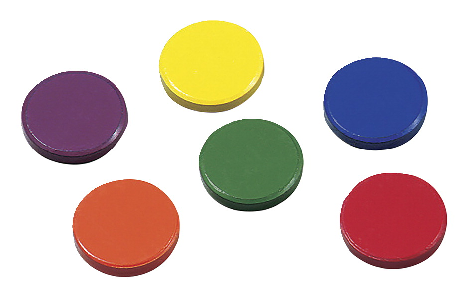 Dowling Magnets Disk Magnets, 1 Inch, Assorted, Pack of 8