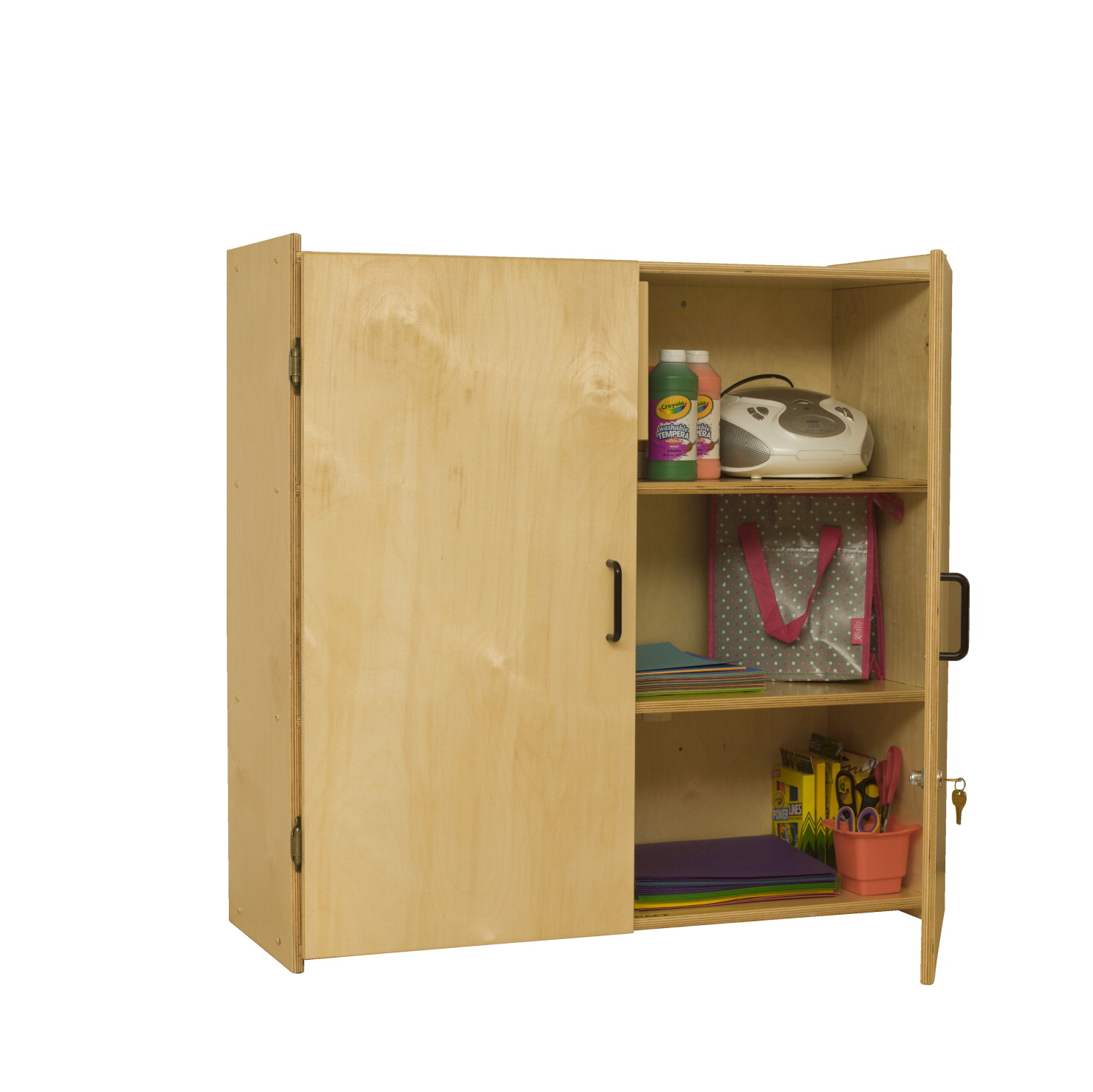 Childcraft Locking Wall-Storage Cabinet, 3 Shelves