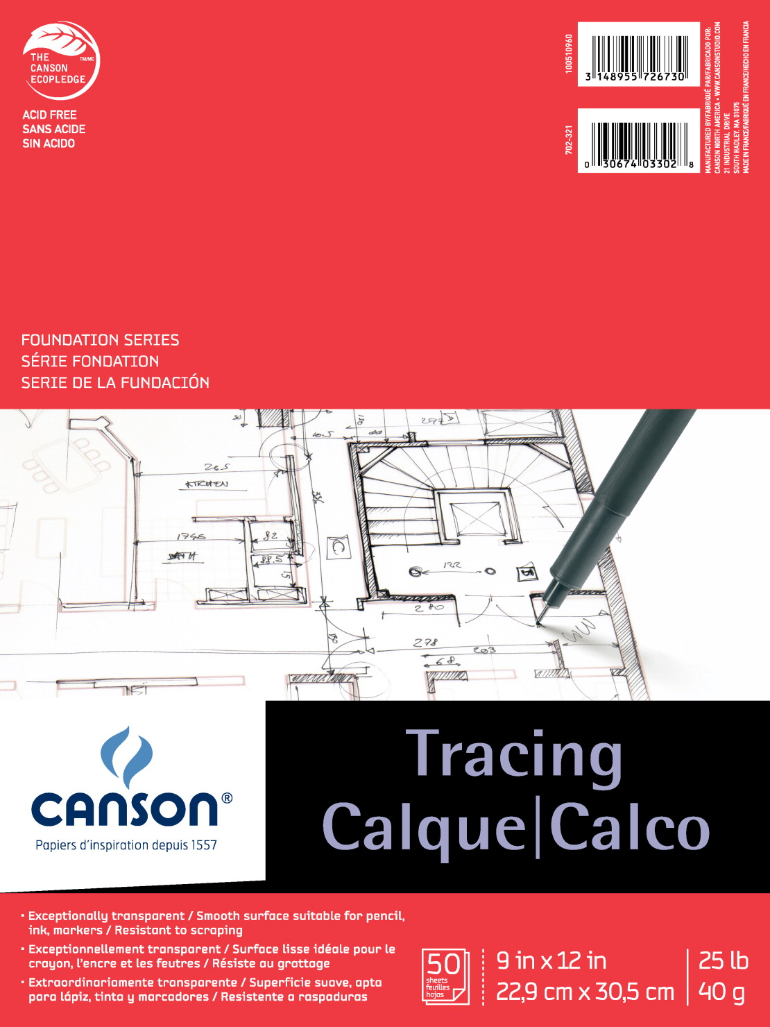 25 lb 50 Sheets 9 x 12 Inches Canson Foundation Tracing Pad