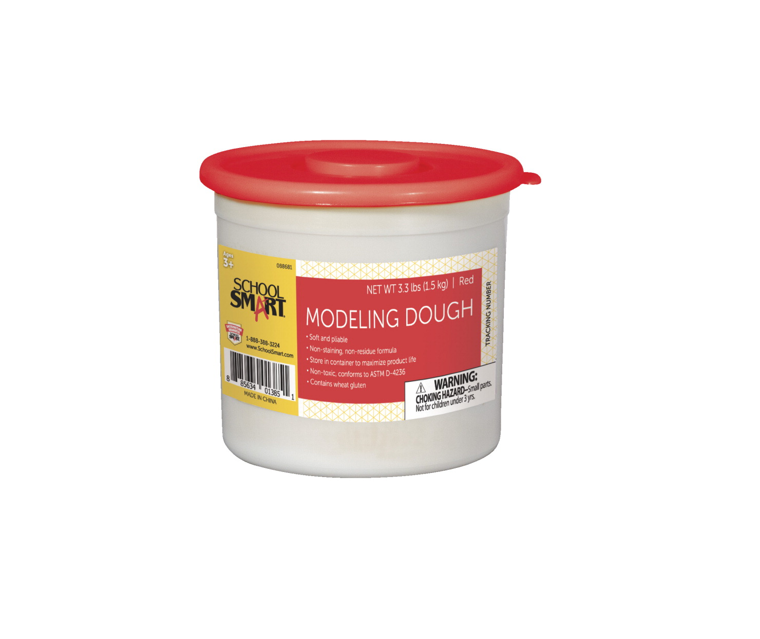 School Smart Non-Toxic Modeling Dough, 3.3 lb Tub, Red
