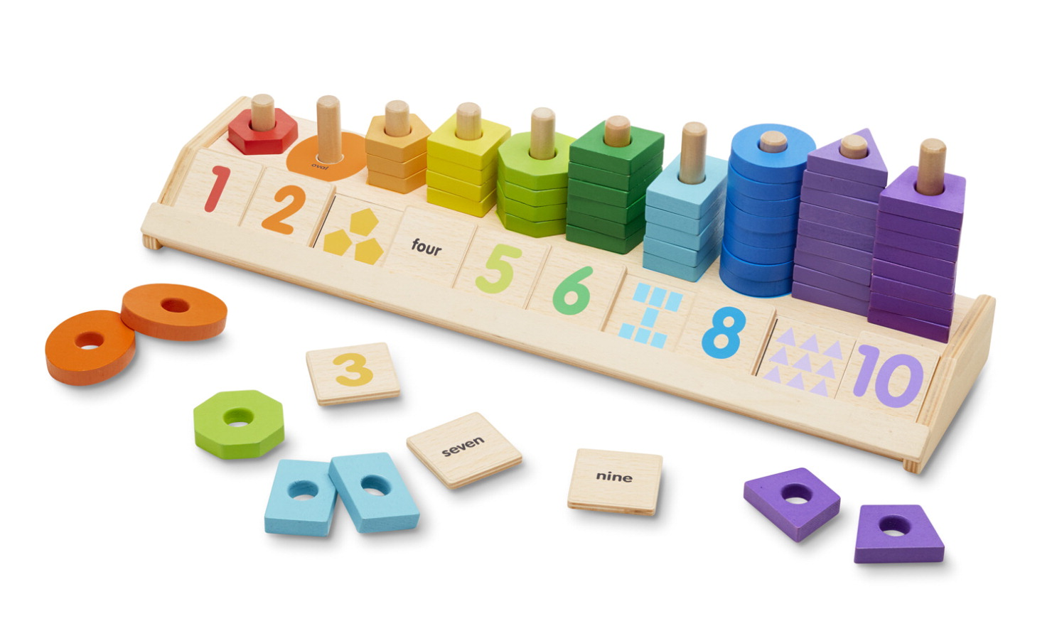Melissa & Doug Wooden Counting Shapes Stacker