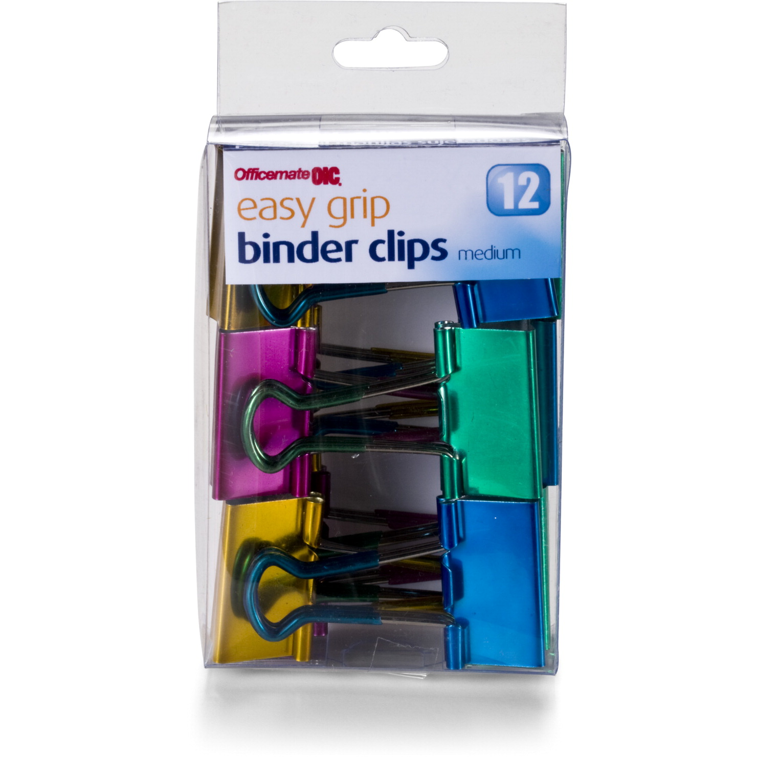 Officemate Easy Grip Binder Clips, Metallic, Medium, Pack of 12