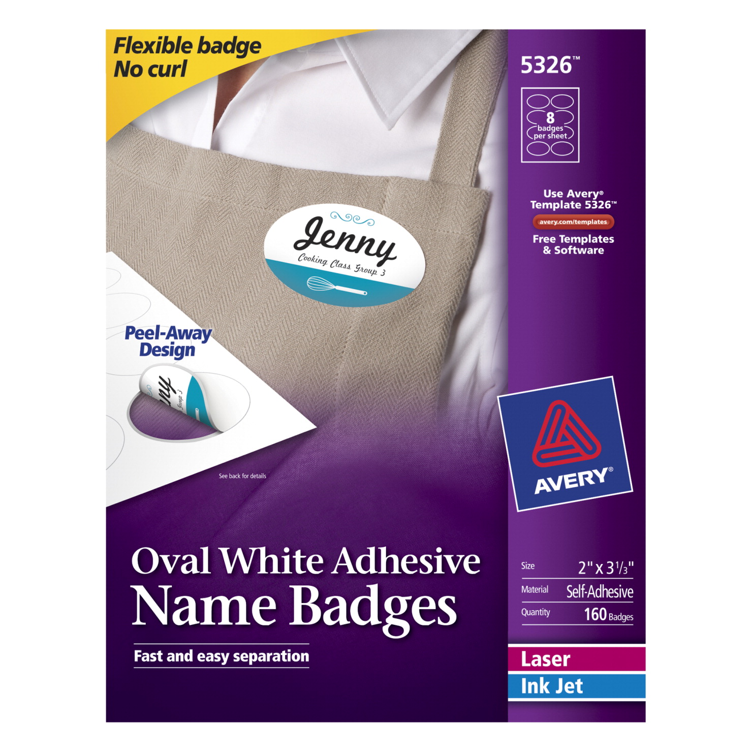avery 5326 adhesive name badge labels white school specialty