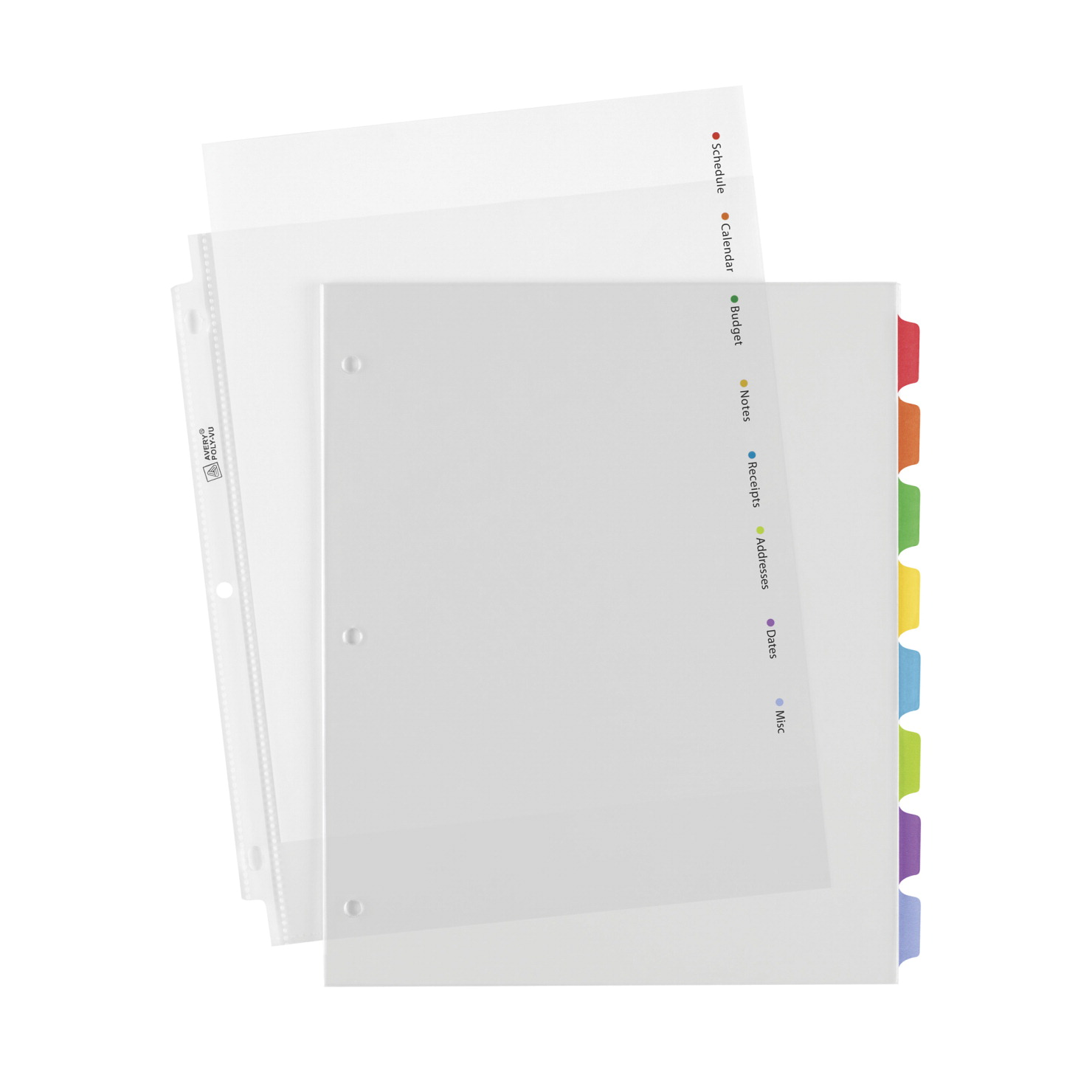 Avery Clear View Plastic Dividers with Colored Tabs and Sheet ...