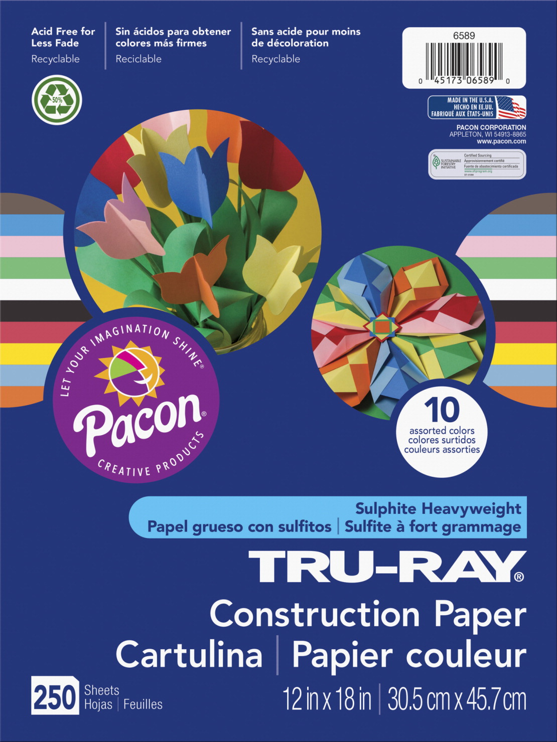 Roselle Sulfite Construction Paper, 12 X 18 Inches, Assorted Bright Color, Pack of 250