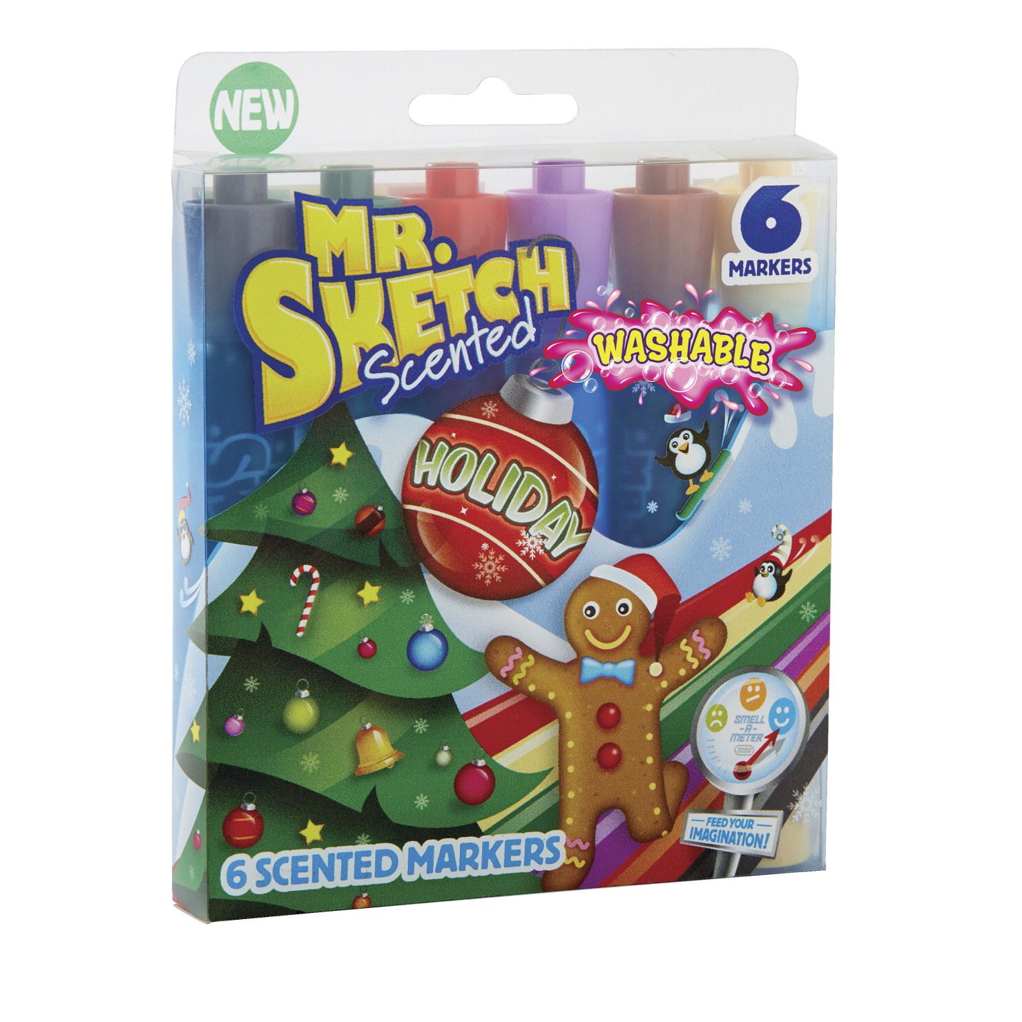 Mr. Sketch Scented Washable Markers, Holiday Scents and Colors, Chisel Tip, Set of 6